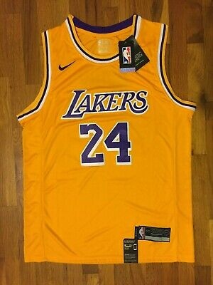 NWT Kobe Bryant Swingman Stitched Jersey #24 Los Angeles Lakers Mens Gold Purple