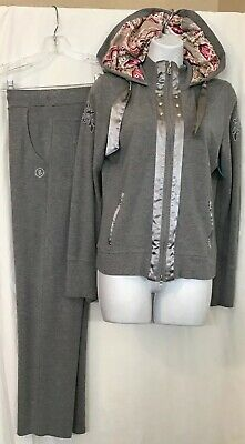 Bogner Jog Set Gray Pants And Zip Up Jacket With Print Hood Size M Size 8