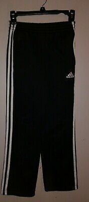 Adidas Athletic Pants Track Black White Sports Boys Girls Medium 10/12 Fleece