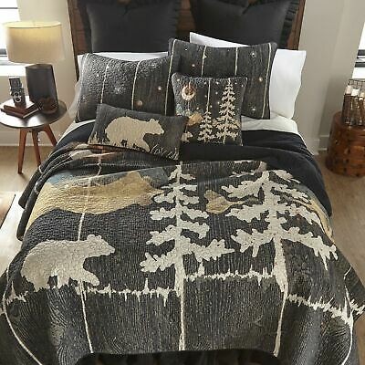 TIMBERLINE Lodge Patchwork King Quilt 3 Pc Set MOOSE BEAR CABIN PINE TREES C /& F