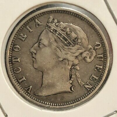 1891 Straits Settlements,Malaysia/Singapore, Queen Victoria,20 Cents Silver Coin