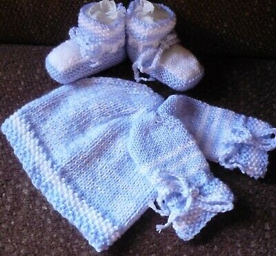 Baby Beanie, Booties & Mittens, Extra Soft Baby Blue/White, Hand-Knitted By Me.