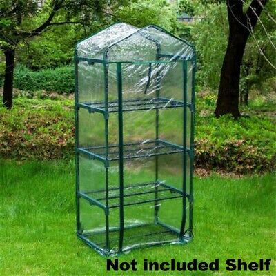 4 Tier Mini Greenhouse Walk In Grow Bag Green House PVC Cover Plastic Garden