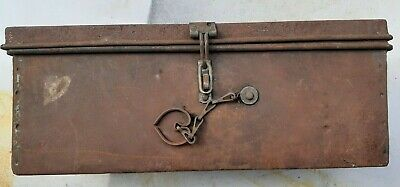 Vintage Metal Tool Box  Hand Made , Solid ,Rusty Rustic Man Shed