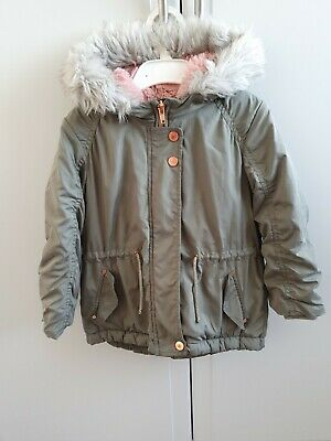 Girls Coat Next Age 2-3 Years Khaki Pink Fleece Grey Fur