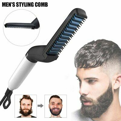Men Quick Beard Straightener Hair Styler Multifunctional Comb Curler Show Cap