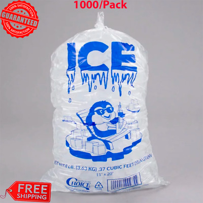 """1000 Case 8 lbs. Clear Plastic Ice Bag Machine Commercial Barcode Blue 8"""" x 20"""""""