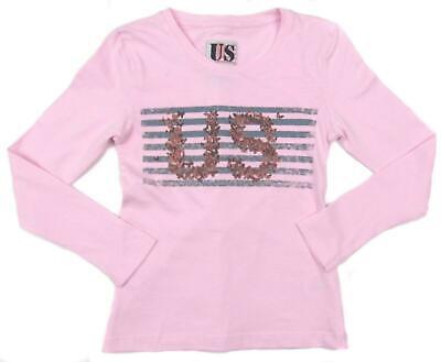 Girls Long Sleeve Top Pink US Logo Lighter Weight Top LAST FEW SALE PRICE