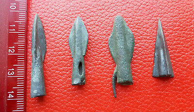4 Ancient Bronze Arrowheads 4pcs