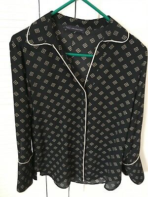Marks & Spencer Womens / Girls  Long sleeved Black & Gold M&S Shirt Top Size 10