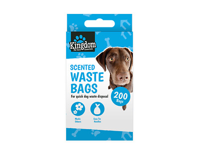PACK OF 200 Doggy Bags Scented Dog Puppy Poo Disposal Easy Tie Handle Scooper