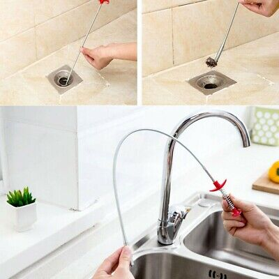 Sink Bendable Cleaning Hook Sewer Dredging Tool Kitchen Spring Pipe Hair Remover