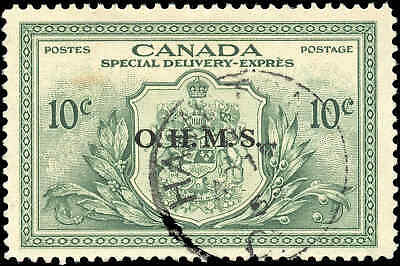 Stamp Canada Used 1950 VF 10c Overprinted OHMS Scott #EO1 Special Delivery Stamp