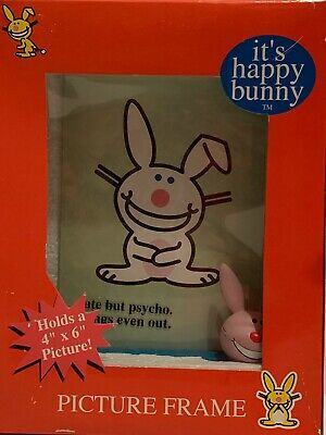 """NEW Jim Benton IT'S HAPPY BUNNY Picture Frame Cute But Psycho 4"""" x 6"""""""
