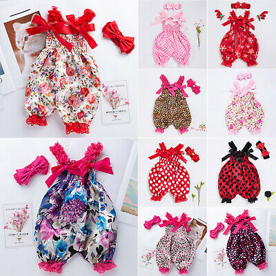 Toddler Baby Girls Summer Bow Jumpsuit Bloomers Pants Bodysuit  Headband Outfits