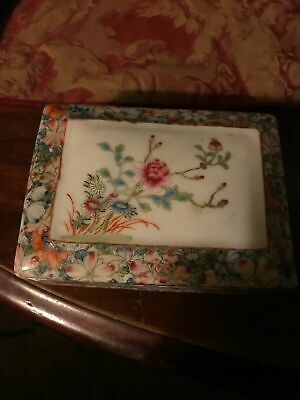 Porcelain Pottery Chinese Vintage Hand Painted Floral Trinket Box Signed