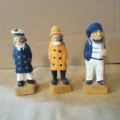 3 Pcs. Wooden Carved Nautical Figurines Rustic Folk Art