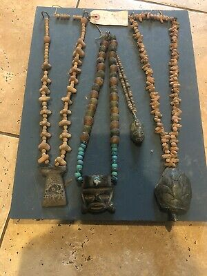 Pre-Columbian Carved Jade Maskette Lot Turquoise Beads Skull Necklace Pendants