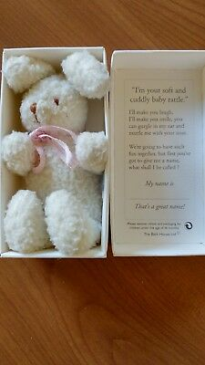 boxed bunny baby rattle by the bath house ltd