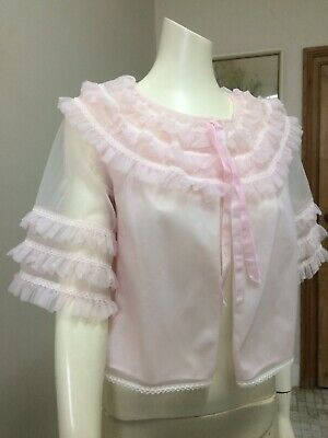 Original Vintage 60s Nightie Shortie Bed Jacket , Pink , Lingerie Pinup Retro