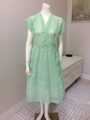 Original Vintage 40s 50s Dressing Gown ,House Dress ,Pinup Rockabilly Retro