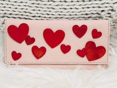 """NWT Kate Spade """"Heart it"""" Harling wallet Fold Over Slim pink leather ❤️ Love"""