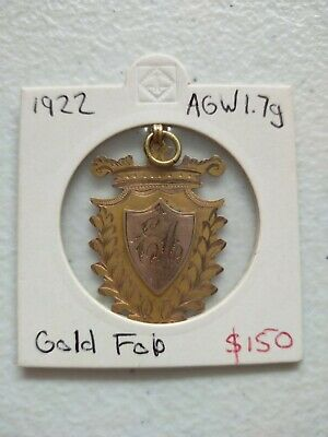 """1922 1.7g Gold Fob """"Best All Round Sport Won By E. Appel"""" Intricately Engraved"""