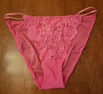 NWT VICTORIA'S SECRET String Bikini Panties Sheer Backside PINK Floral Lace Sz L