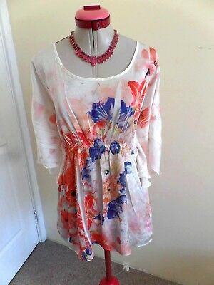 MOTHERHOOD MATERNITY White TOP Size L 14 Peach Floral Red Coral Orange Pleated