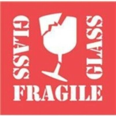 100 Stickers Total 2 x 3 SPANISH Bright Red Fragile  Fragil BROKEN GLASS Labels
