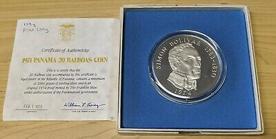 1974 Franklin Mint Panama 20 Balboas 3.8542 Oz SILVER PROOF Coin Certificate
