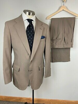 Polo University Club Ralph Lauren 40R tan beige two button suit 30 x 29 pants