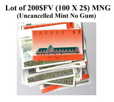 Lot of 200$FV in 2$ stamps MNG Canada Uncancelled Mint No Gum Face Value