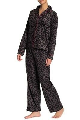 NWT! Tahari Women's Sz M Fleece Notch Collard Leopard Print 2pcs Pajama Set $68
