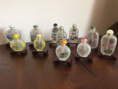 Lovely Antique Chinese Inside Hand Painted Frost Glass Snuff Bottles X 11