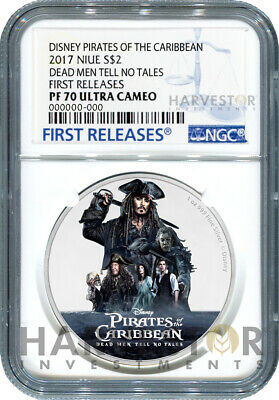 2017 Disney Pirates Of The Caribbean Silver Coin - Ngc Pf70 First Releases W/Ogp