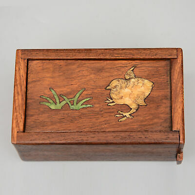 Collect China Old Boxwood Inlay Seashell Hand-Carved Cock Auspicious Jewel Box