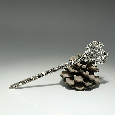 Collect China Old MIao Silver Carve Mandarin Duck & Bloomy Flower Luck Hairpin