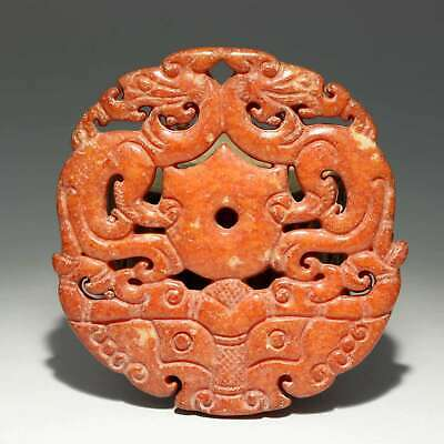 Collect China Old Jade Hand-Carved Myth Dragon Moral Auspicious Decor Pendant