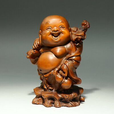 Collectable Antique Boxwood Hand-Carved Happy Buddha Auspicious Delicate Statue
