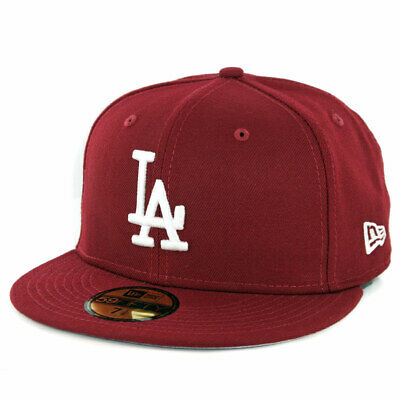 New Era 59Fifty Los Angeles Dodgers Fitted Hat (Cardinal) Men's MLB Burgundy Cap