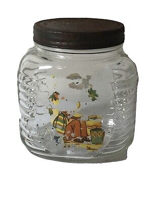 Vintage Early Bushells Coffee Jar Ribbed Glass Regd No 11049