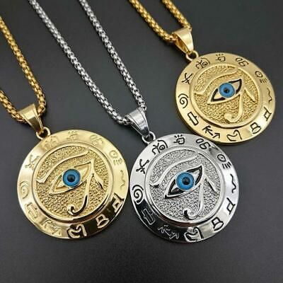 Stainless Steel  Ancient Egypt Eye of Horus Men Women Pendant Necklace Jewelry