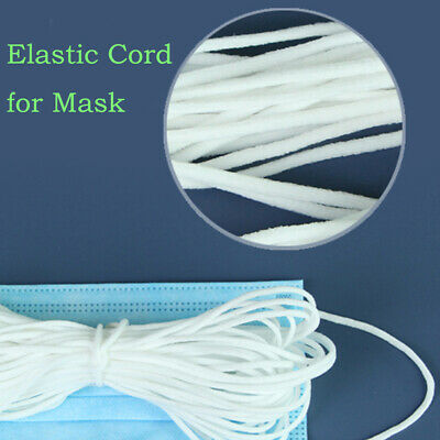 5x 3mm Round Elastic Band Cord for Mouth Mask Crafts DIY Materials 10m White US
