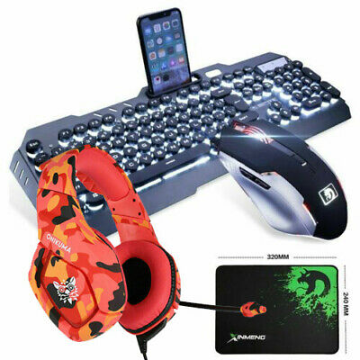 4in1 Mechanical Feel Gaming Keyboard Mouse and Headset Combo For PS4 RGB Backlit