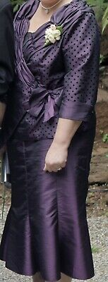 Ladies Aubergine Mother Of The Groom Skirt Suit By F & I - Size 18 (RRP $359)