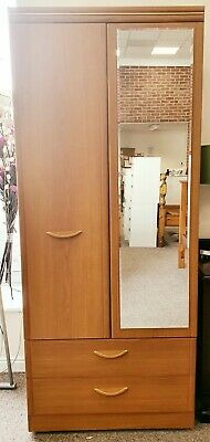 Alstons Teak Melamine Effect Double Wardrobe with 2 Drawers
