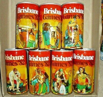 Collectable beer cans -  Set of 7 Commonwealth Games Brisbane 1982 steel cans