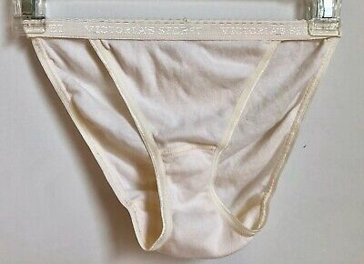 VTG Victoria's Secret Signature Waistband Cotton String Bikini Panties M NWOT