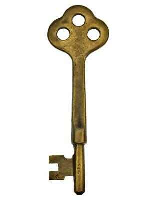 "Antique Key - BRASS Mortice Key with Three Hole Bow 3"" - 1920's-1940's  ref.k732"
